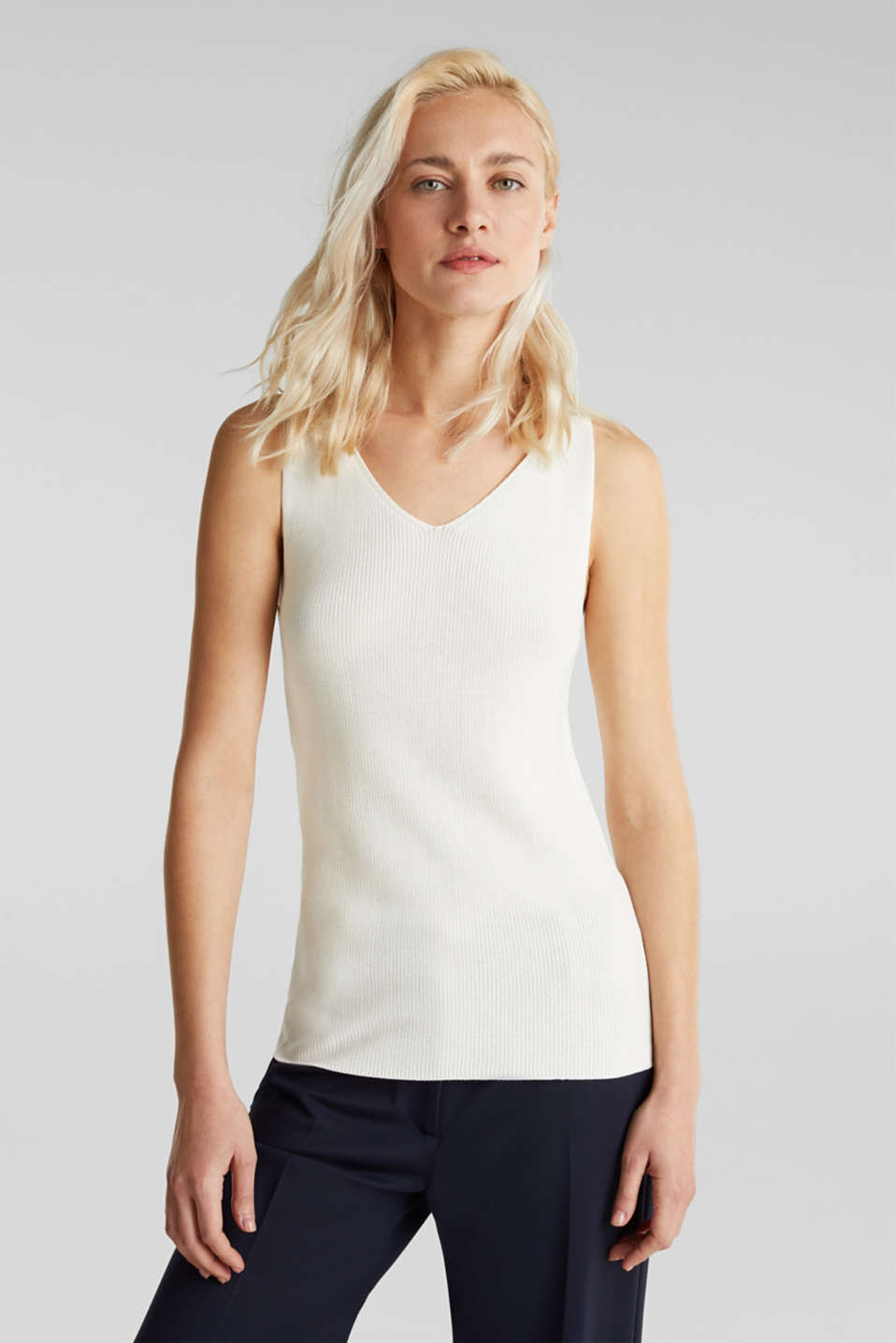 Knitted V-neck top With TENCEL™, OFF WHITE, detail image number 0