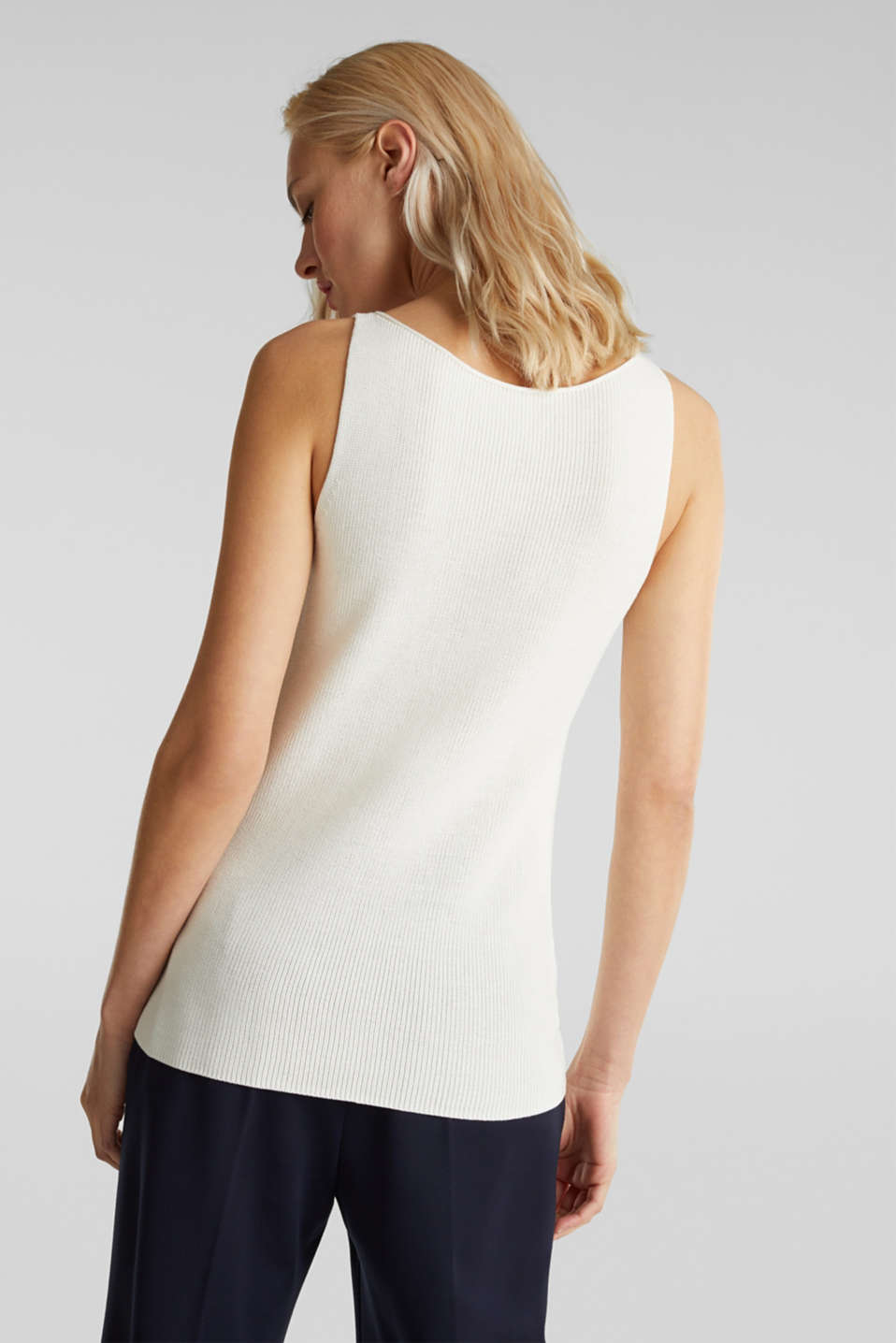 Knitted V-neck top With TENCEL™, OFF WHITE, detail image number 3