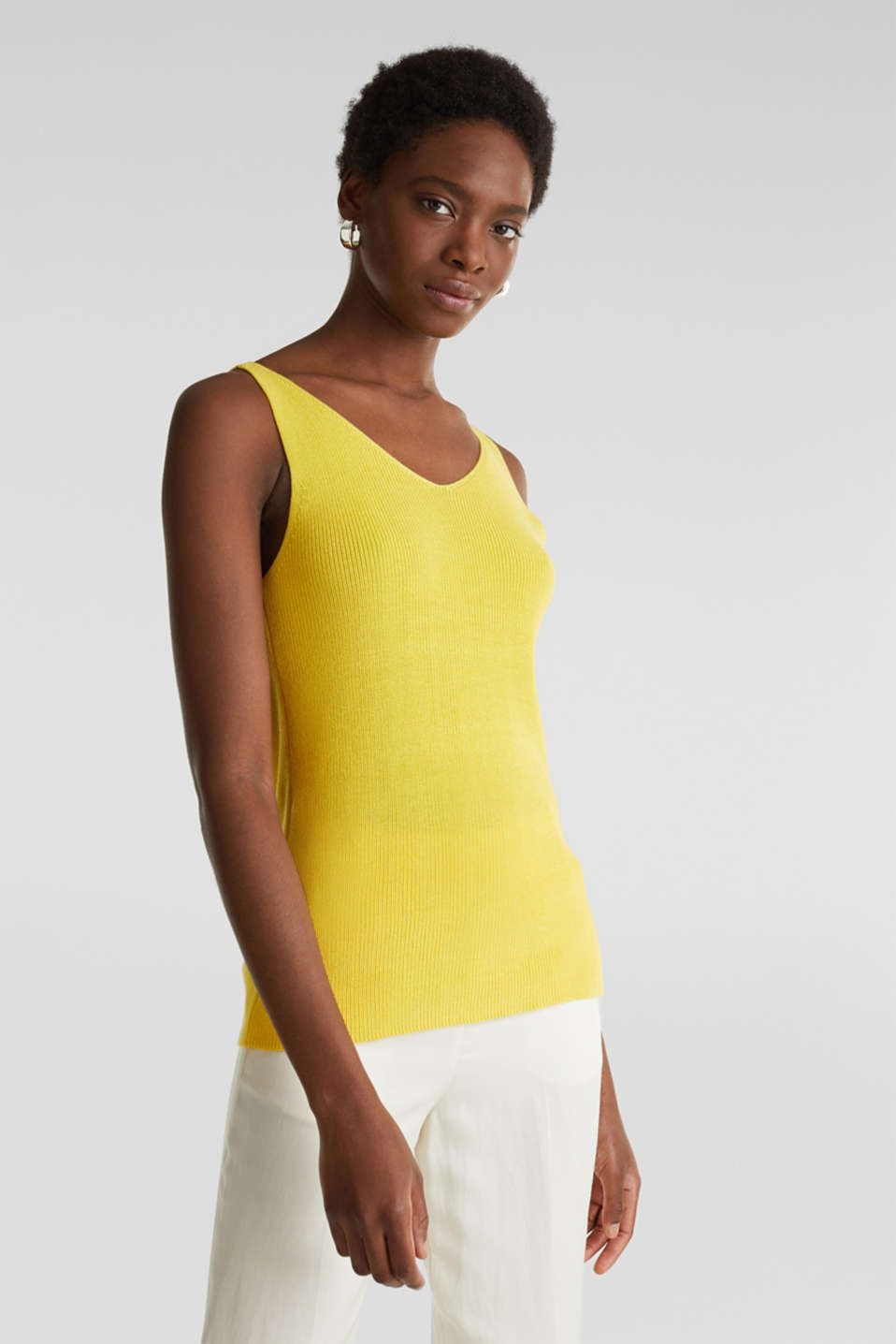 Knitted V-neck top With TENCEL™, YELLOW, detail image number 0