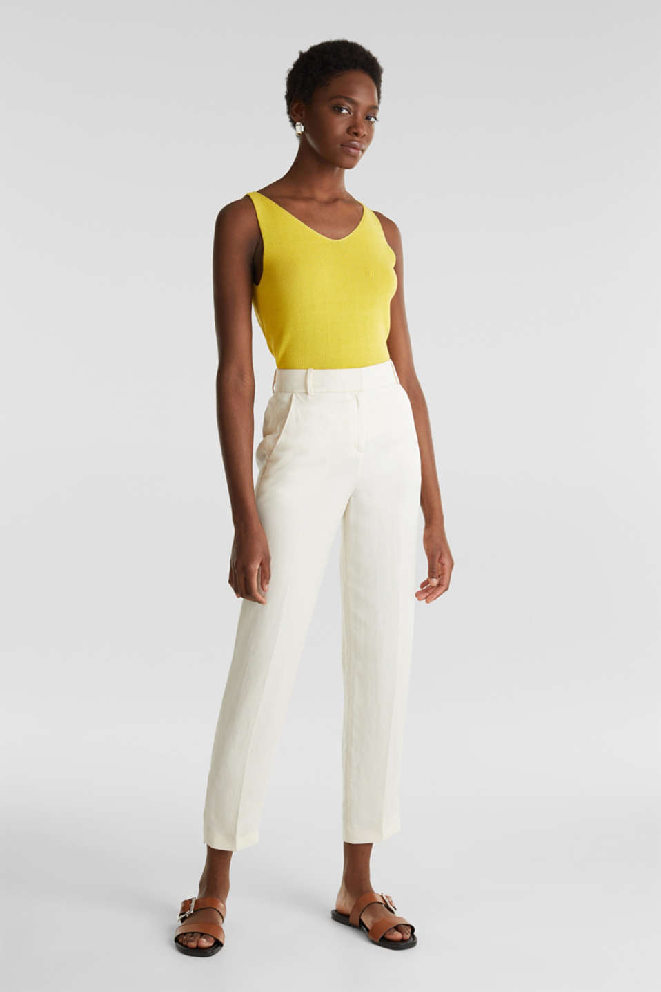 Knitted V-neck top With TENCEL™, YELLOW, detail image number 5