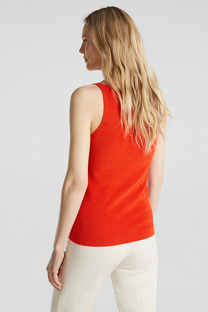 Knitted V-neck top With TENCEL™, RED ORANGE, detail image number 3