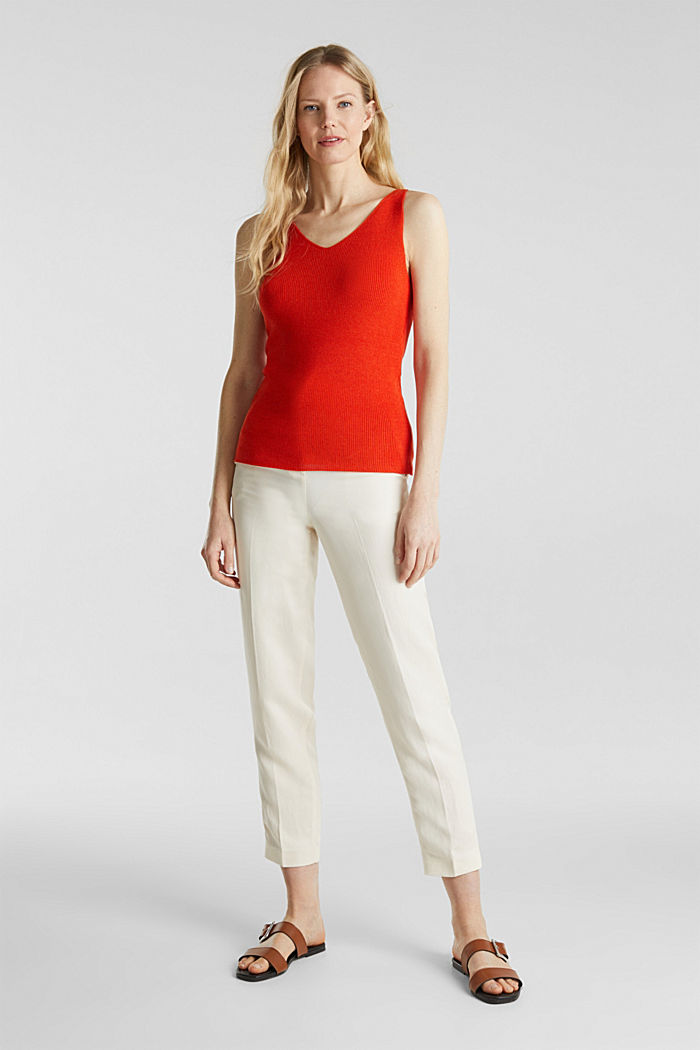 Knitted V-neck top With TENCEL™, RED ORANGE, detail image number 5