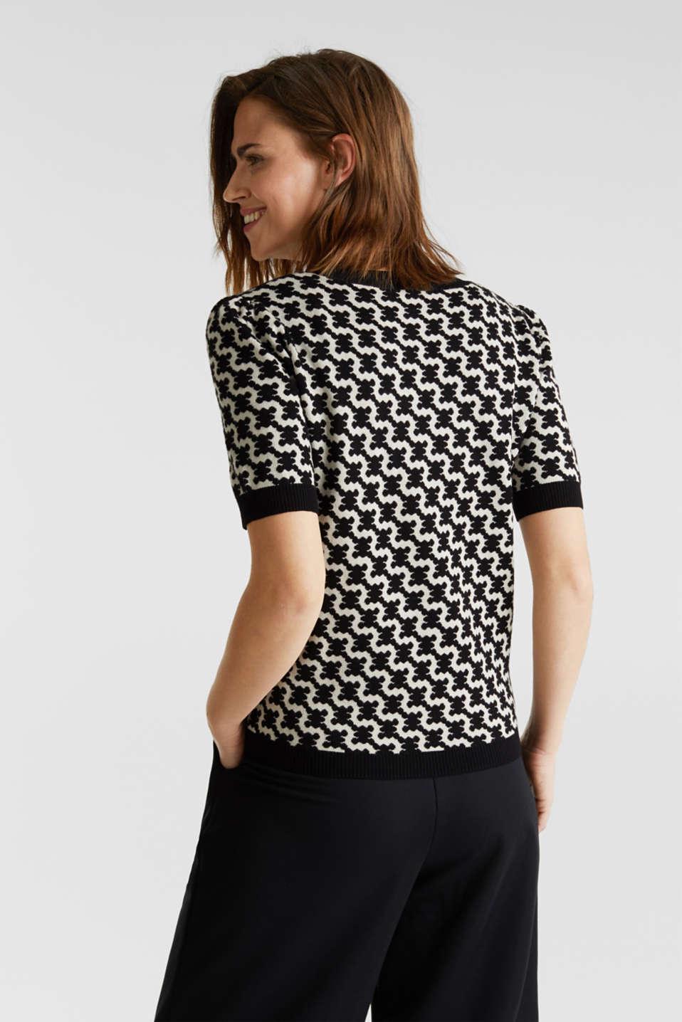 Short-sleeved jumper in a jacquard look, BLACK 3, detail image number 3