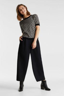 Short-sleeved jumper in a jacquard look, BLACK 3, detail
