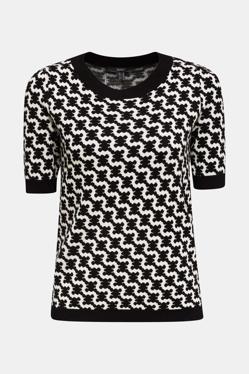 Short-sleeved jumper in a jacquard look, BLACK 3, detail image number 6