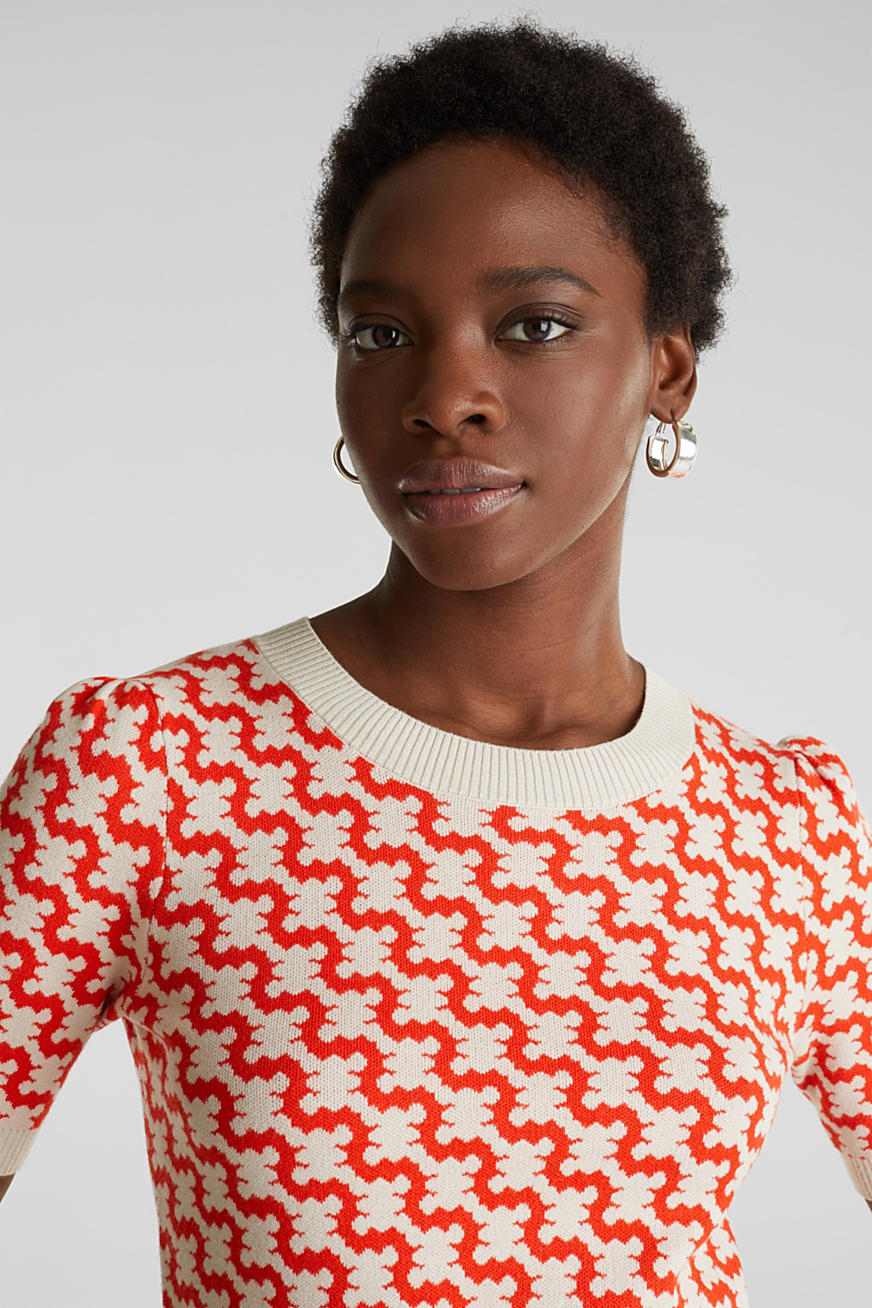 Short-sleeved jumper in a jacquard look