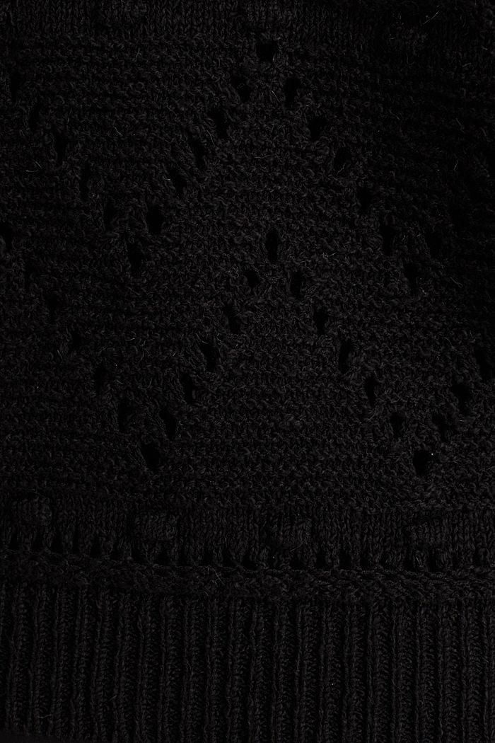 Openwork jumper made of ribbon yarn, BLACK, detail image number 4