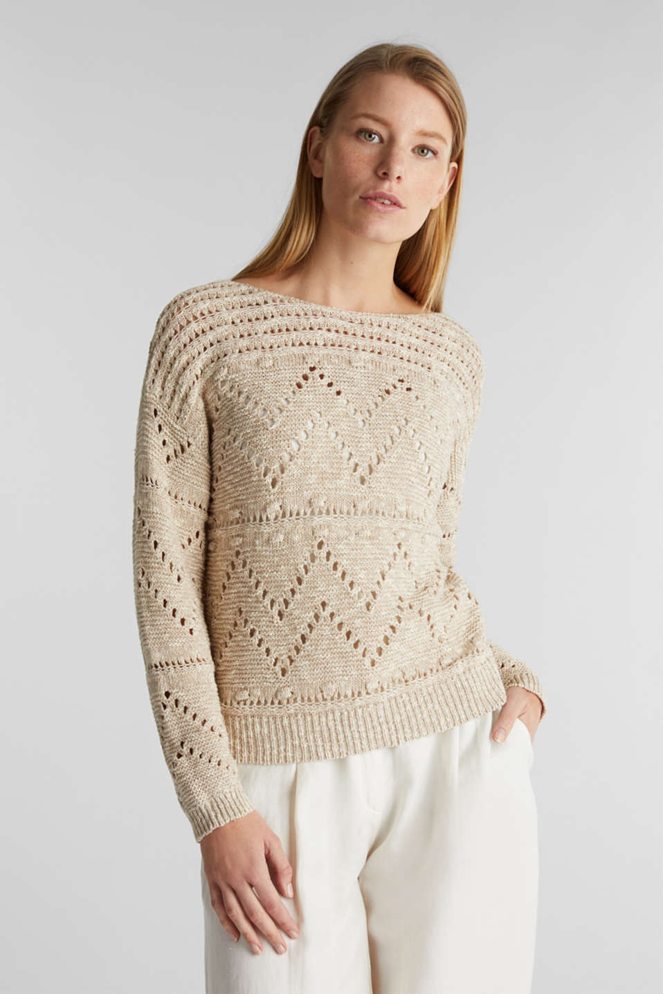 Esprit - Openwork jumper made of ribbon yarn