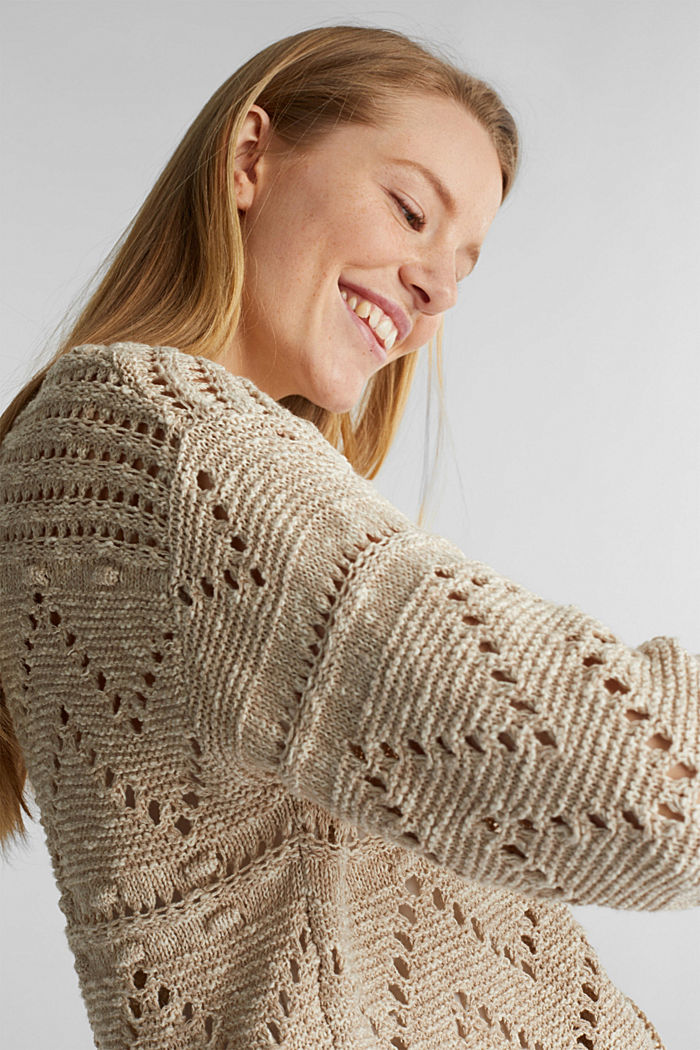 Openwork jumper made of ribbon yarn, LIGHT BEIGE, overview