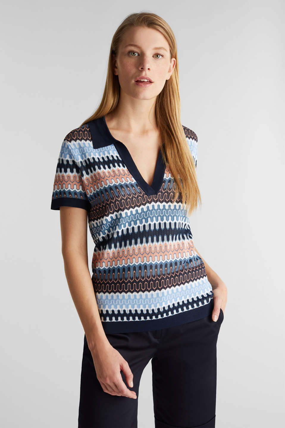 Short-sleeved jumper with a jacquard pattern, NAVY, detail image number 5
