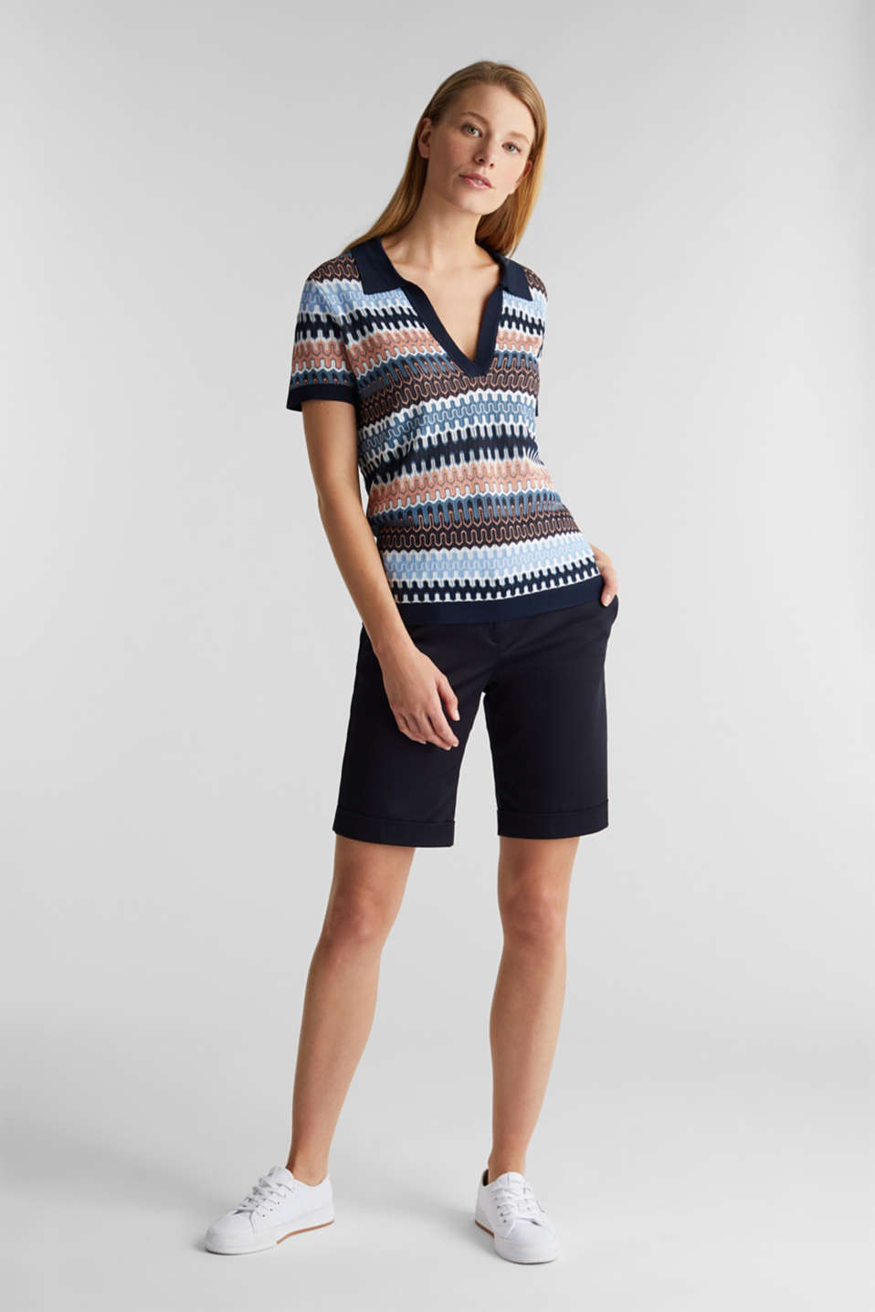 Short-sleeved jumper with a jacquard pattern, NAVY, detail image number 1