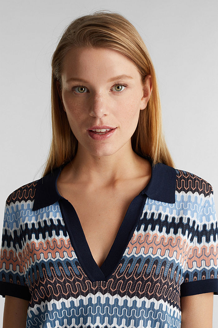 Short-sleeved jumper with a jacquard pattern, NAVY, detail image number 2
