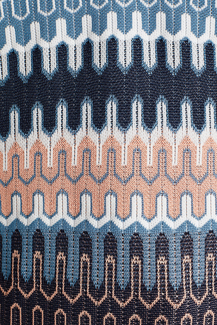 Short-sleeved jumper with a jacquard pattern, NAVY, detail image number 4
