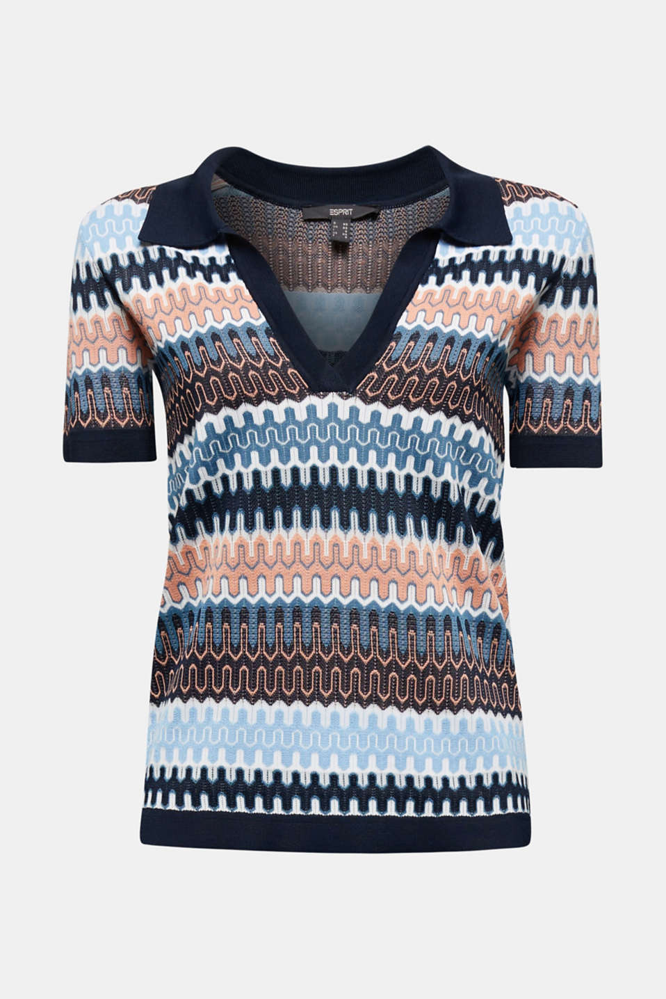 Short-sleeved jumper with a jacquard pattern, NAVY, detail image number 6