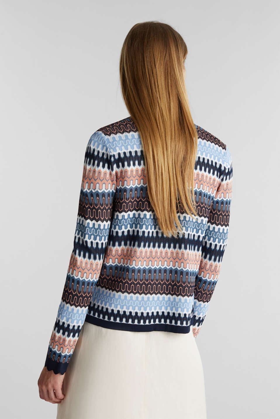 Knit bolero with a jacquard pattern, NAVY, detail image number 3