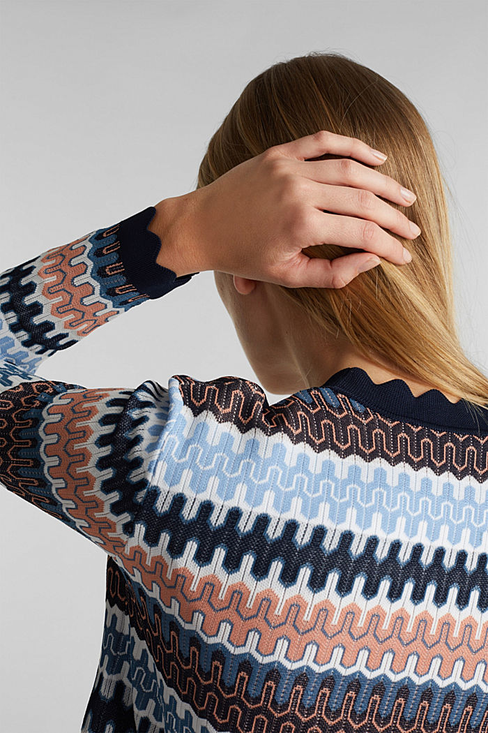 Knit bolero with a jacquard pattern, NAVY, detail image number 2