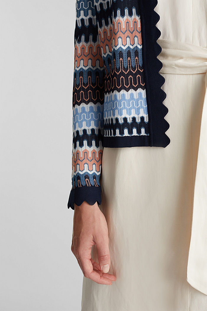 Knit bolero with a jacquard pattern, NAVY, detail image number 5