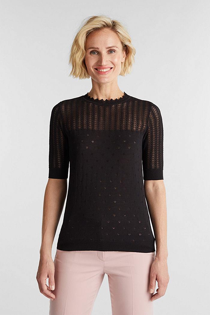 Short-sleeved jumper with an openwork pattern and lace, BLACK, detail image number 0