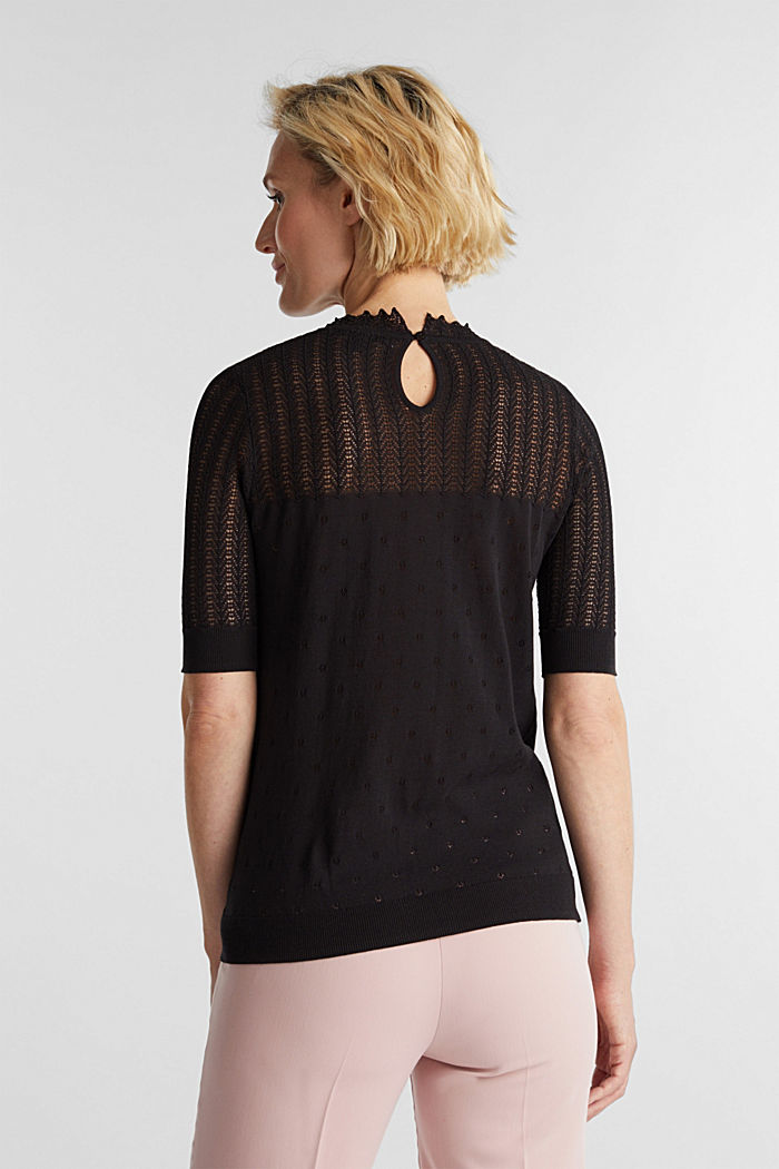Short-sleeved jumper with an openwork pattern and lace, BLACK, detail image number 2