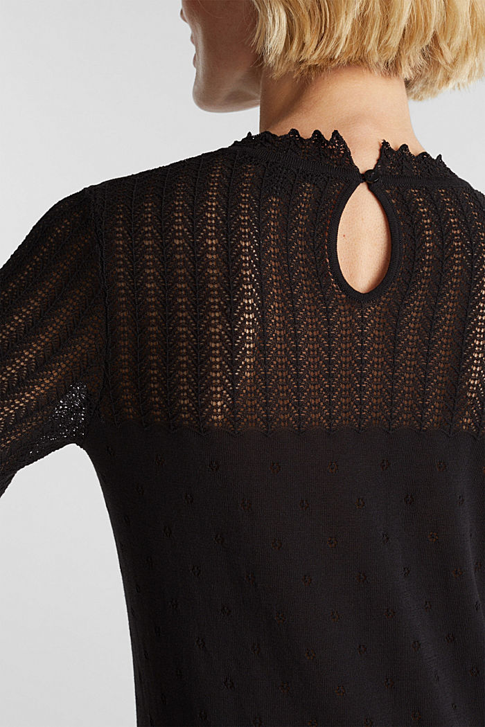 Short-sleeved jumper with an openwork pattern and lace, BLACK, detail image number 4