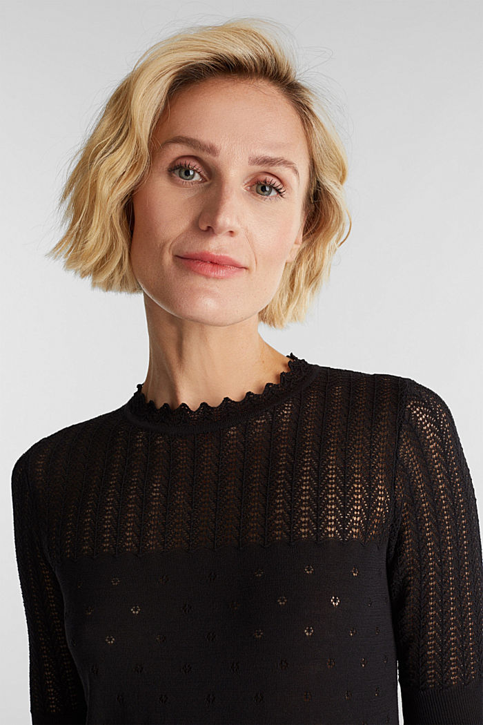 Short-sleeved jumper with an openwork pattern and lace, BLACK, detail image number 6