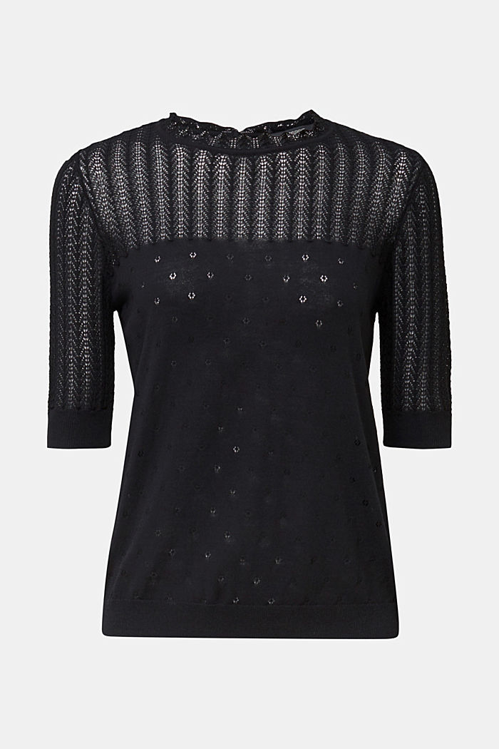 Short-sleeved jumper with an openwork pattern and lace, BLACK, detail image number 7