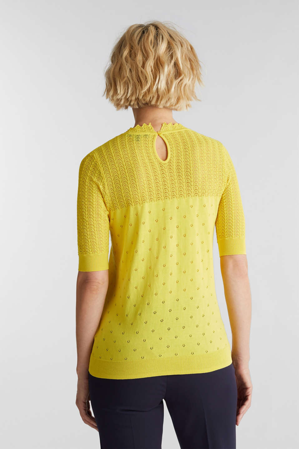Short-sleeved jumper with an openwork pattern and lace, YELLOW, detail image number 3