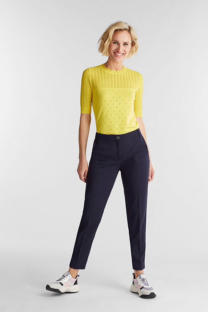 Short-sleeved jumper with an openwork pattern and lace, YELLOW, detail image number 5