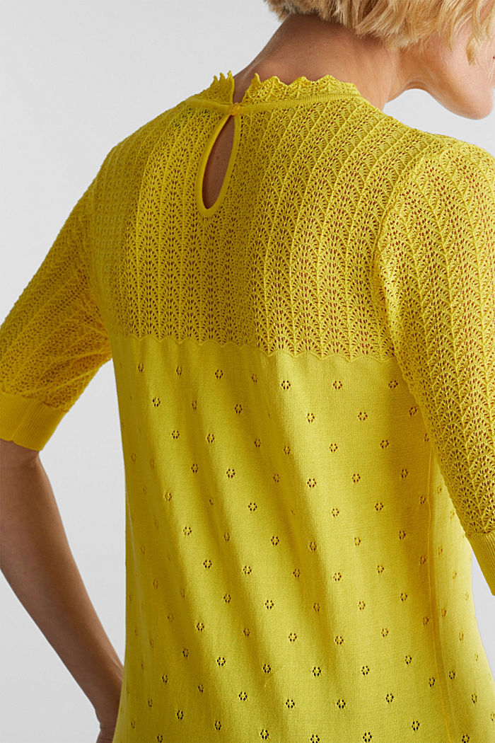 Short-sleeved jumper with an openwork pattern and lace, YELLOW, detail image number 2