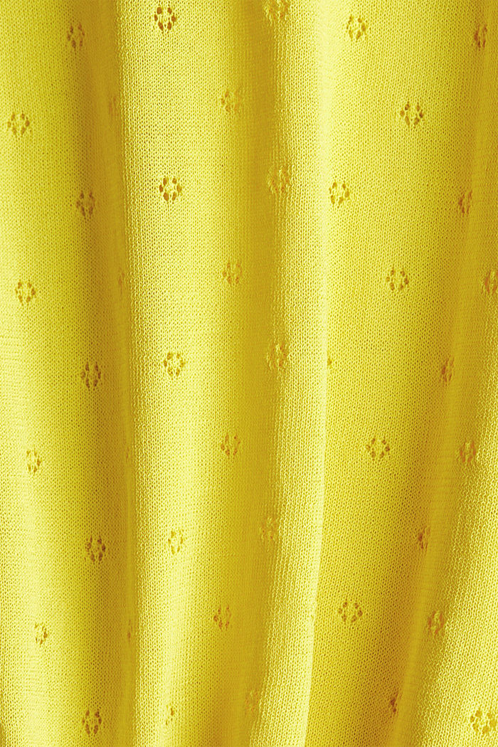 Short-sleeved jumper with an openwork pattern and lace, YELLOW, detail image number 4