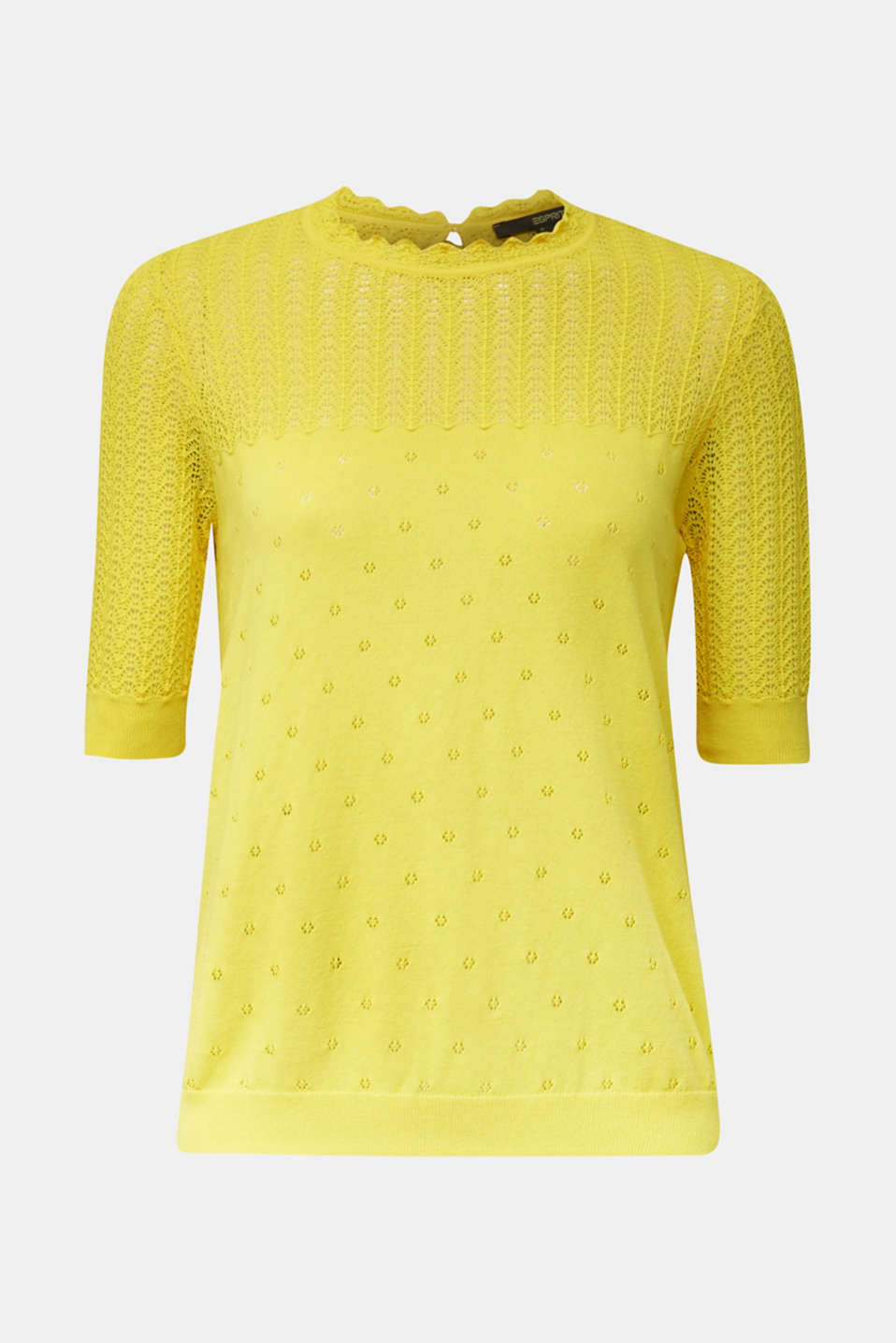 Short-sleeved jumper with an openwork pattern and lace, YELLOW, detail image number 7