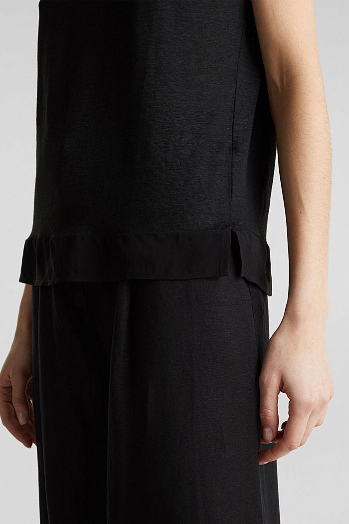 En lin: le haut orné de détails en tissu, BLACK, detail image number 5