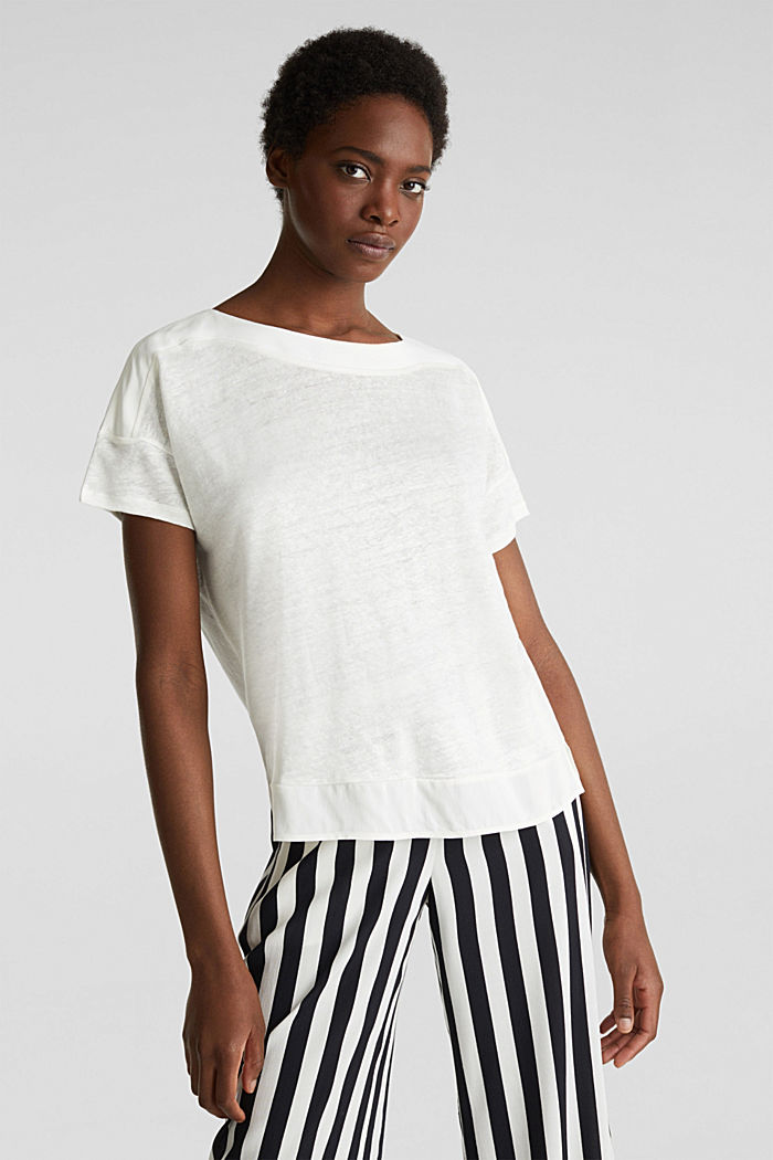 Made of linen: top with fabric details, OFF WHITE, detail image number 0