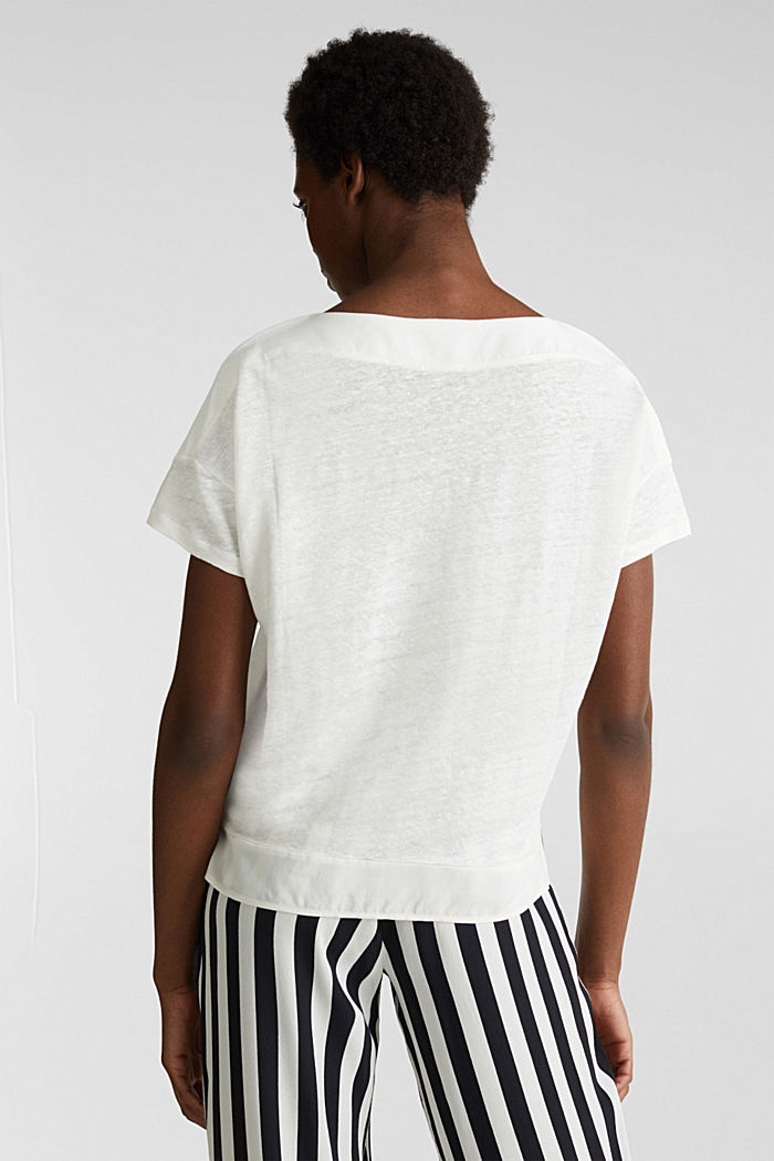 Made of linen: top with fabric details, OFF WHITE, detail image number 3