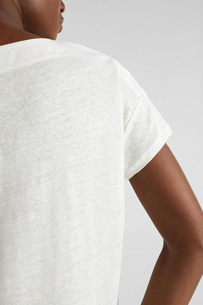 Made of linen: top with fabric details, OFF WHITE, detail image number 5