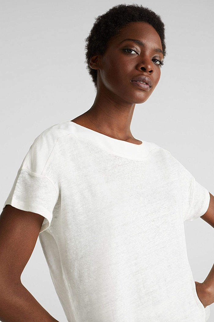 Made of linen: top with fabric details, OFF WHITE, detail image number 6