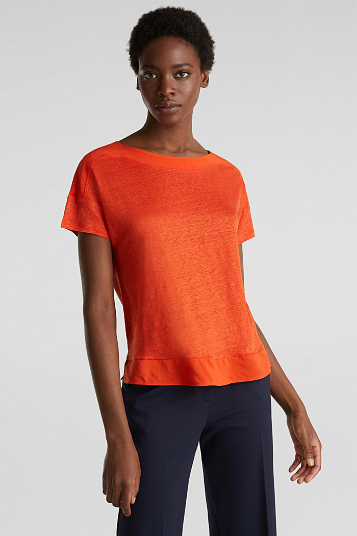 Made of linen: top with fabric details, RED ORANGE, detail image number 0