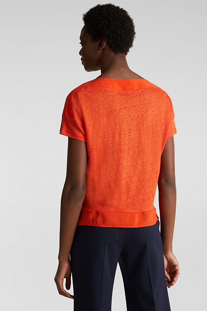 Made of linen: top with fabric details, RED ORANGE, detail image number 3