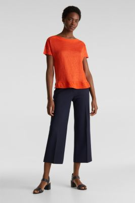 Made of linen: top with fabric details, RED ORANGE, detail
