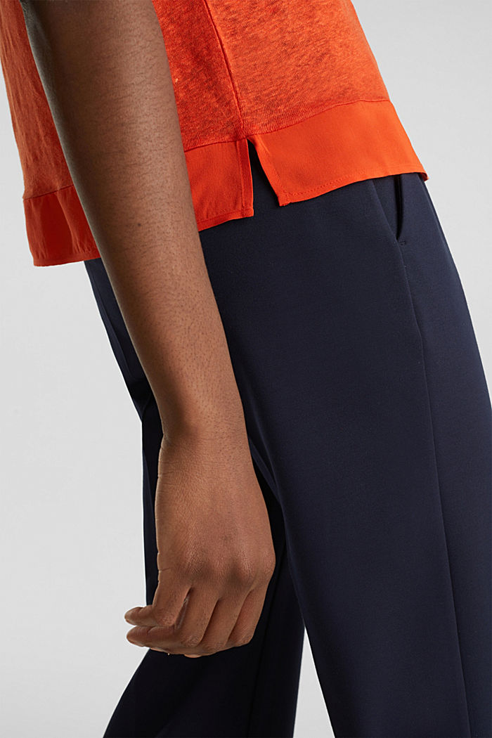 Made of linen: top with fabric details, RED ORANGE, detail image number 5