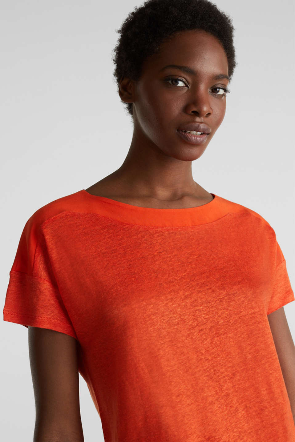 Made of linen: top with fabric details, RED ORANGE, detail image number 6