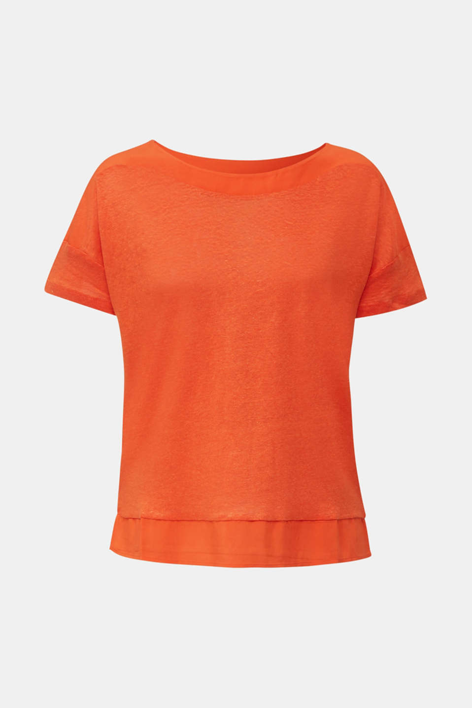 Made of linen: top with fabric details, RED ORANGE, detail image number 7