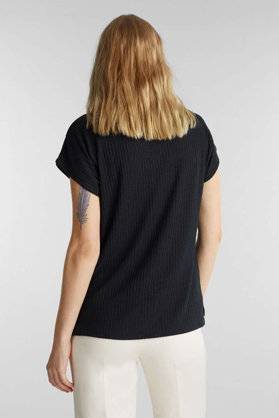 Stretch T-shirt with a ribbed texture, BLACK, detail image number 3