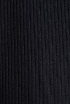 Stretch T-shirt with a ribbed texture, BLACK, detail