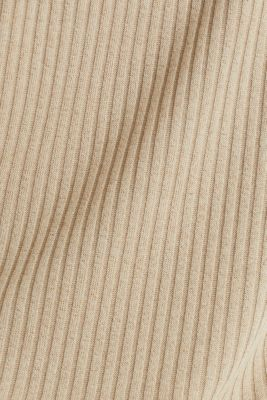Stretch T-shirt with a ribbed texture, KHAKI BEIGE, detail