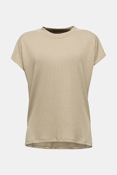 Stretch T-shirt with a ribbed texture