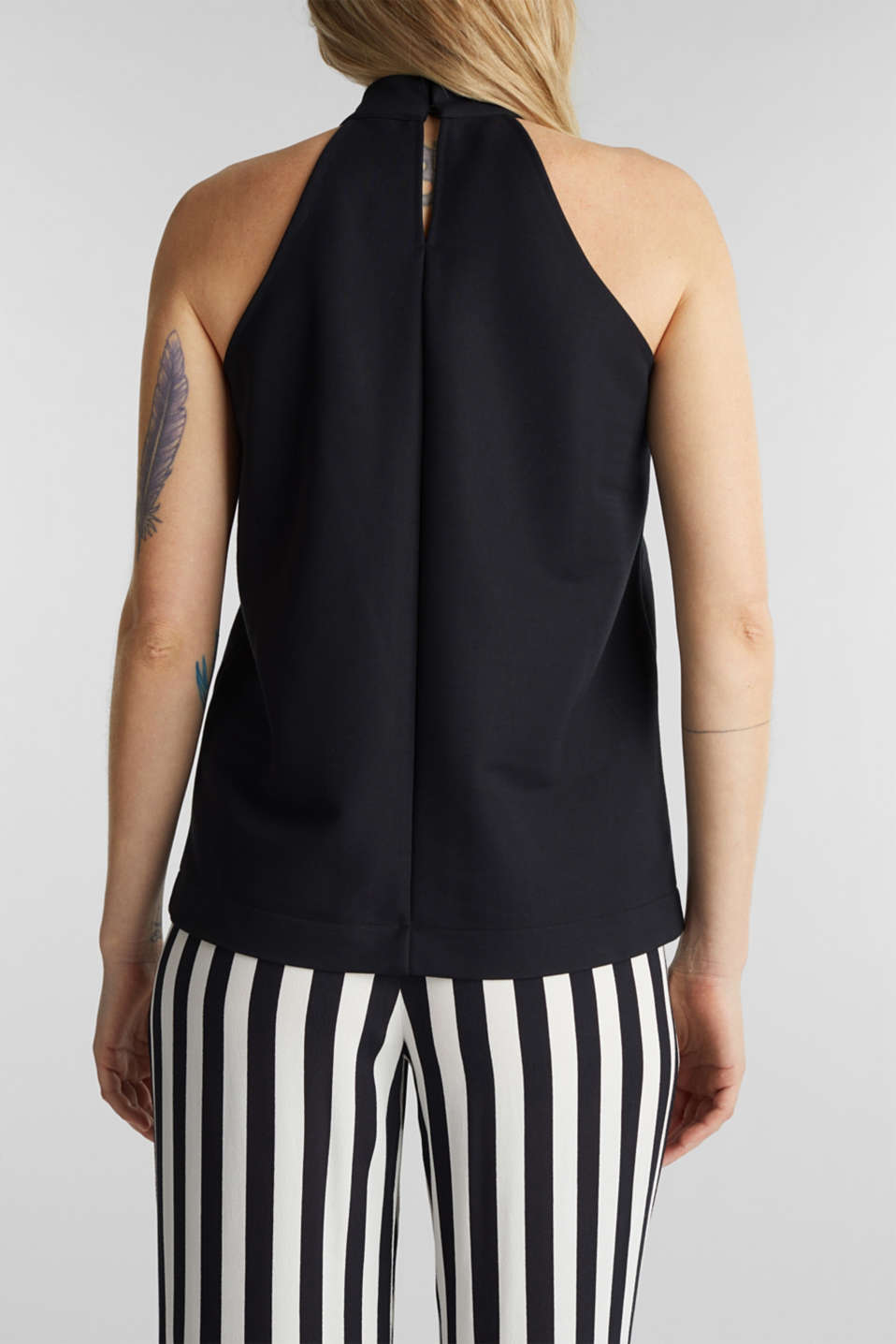 Stretch jersey top with a stand-up collar, BLACK, detail image number 3