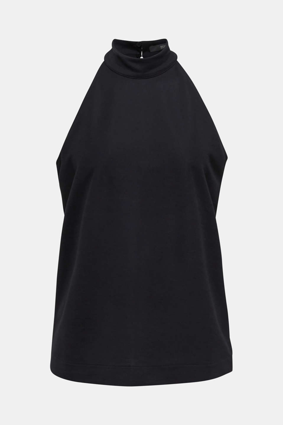 Stretch jersey top with a stand-up collar, BLACK, detail image number 6