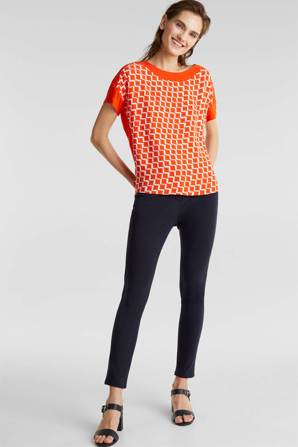Blouse top in a mix of materials, RED ORANGE, detail image number 1