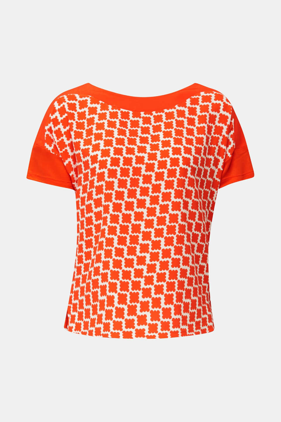 Blouse top in a mix of materials, RED ORANGE, detail image number 6